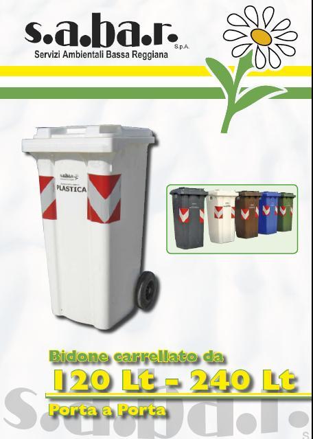 Bidone Carrellato Plastica 120 / 240 Lt